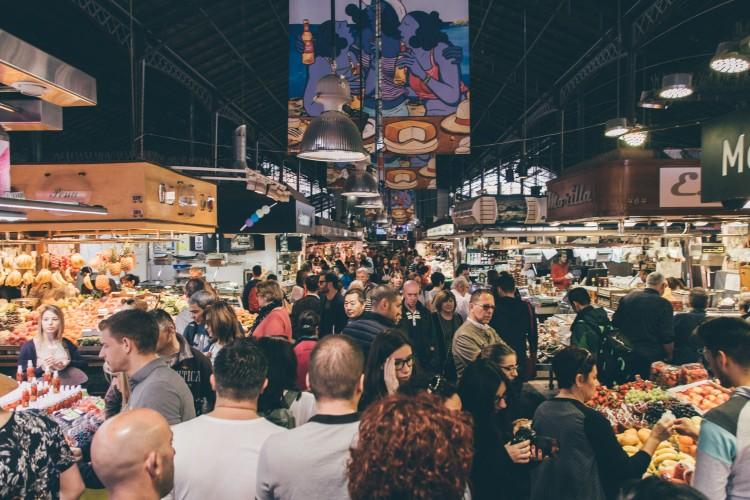 Panorâmica do Mercado La Boqueria, Barcelona