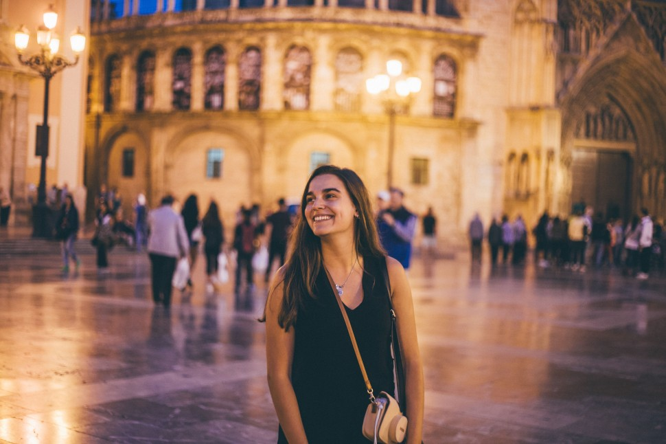 Filipa na Praça da Catedral de Valência